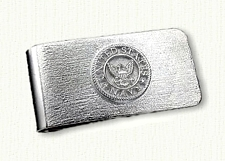 Sterling money clip with raised Navy Emblem